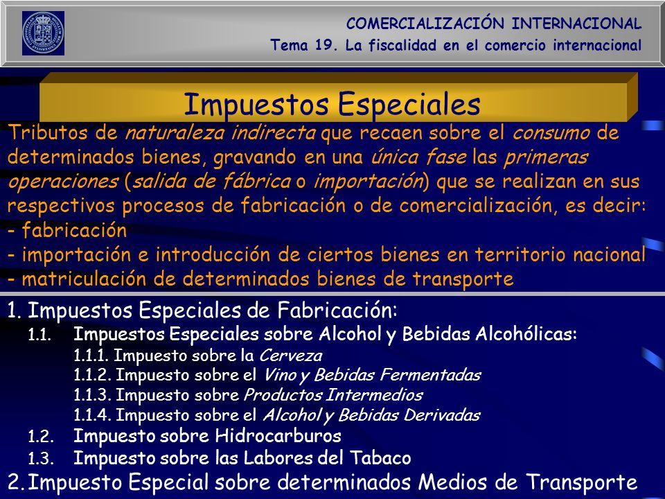 COMERCIALIZACIÓN INTERNACIONAL Tema 19. La fiscalidad en el comercio internacional Impuestos Especiales 1.Impuestos Especiales de Fabricación: 1.1. Im