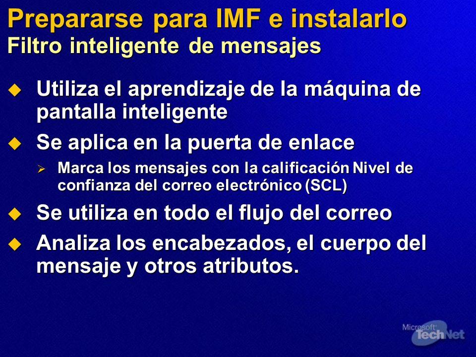 Prepararse para IMF e instalarlo Filtro inteligente de mensajes Utiliza el aprendizaje de la máquina de pantalla inteligente Utiliza el aprendizaje de