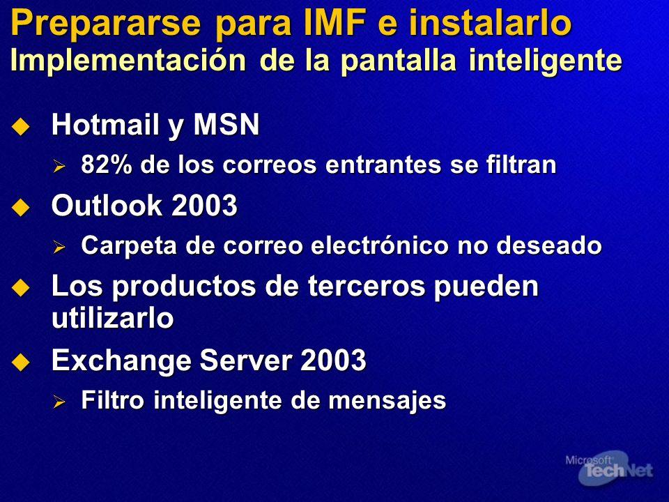 Prepararse para IMF e instalarlo Implementación de la pantalla inteligente Hotmail y MSN Hotmail y MSN 82% de los correos entrantes se filtran 82% de los correos entrantes se filtran Outlook 2003 Outlook 2003 Carpeta de correo electrónico no deseado Carpeta de correo electrónico no deseado Los productos de terceros pueden utilizarlo Los productos de terceros pueden utilizarlo Exchange Server 2003 Exchange Server 2003 Filtro inteligente de mensajes Filtro inteligente de mensajes