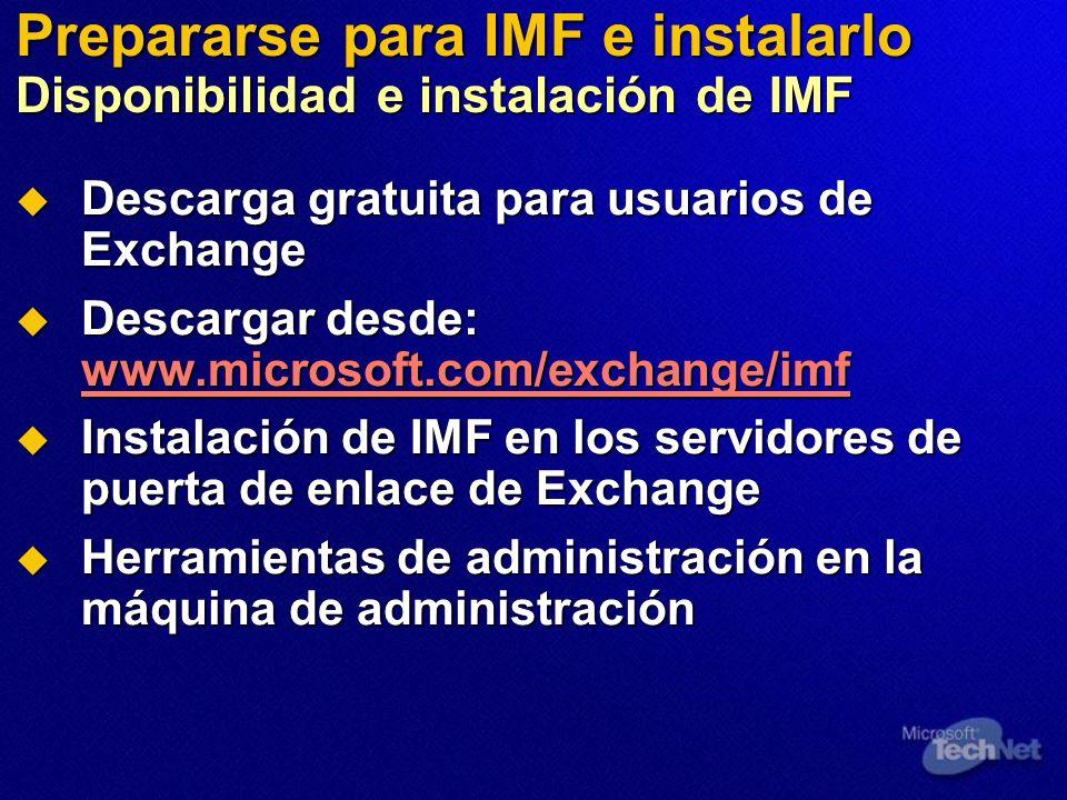 Prepararse para IMF e instalarlo Disponibilidad e instalación de IMF Descarga gratuita para usuarios de Exchange Descarga gratuita para usuarios de Ex