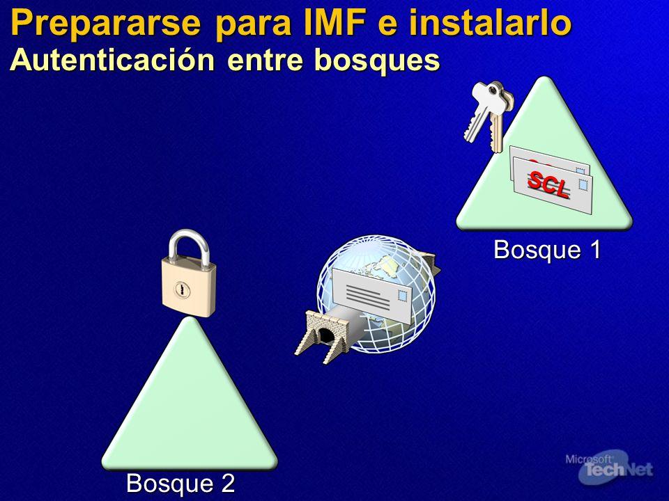 Bosque 2 Bosque 1 Prepararse para IMF e instalarlo Autenticación entre bosques SCL SCL