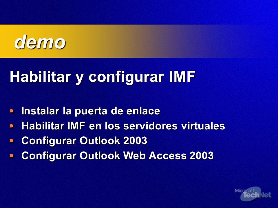 Habilitar y configurar IMF Habilitar y configurar IMF Instalar la puerta de enlace Instalar la puerta de enlace Habilitar IMF en los servidores virtua