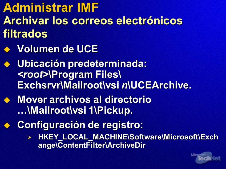Administrar IMF Archivar los correos electrónicos filtrados Volumen de UCE Volumen de UCE Ubicación predeterminada: \Program Files\ Exchsrvr\Mailroot\vsi n\UCEArchive.