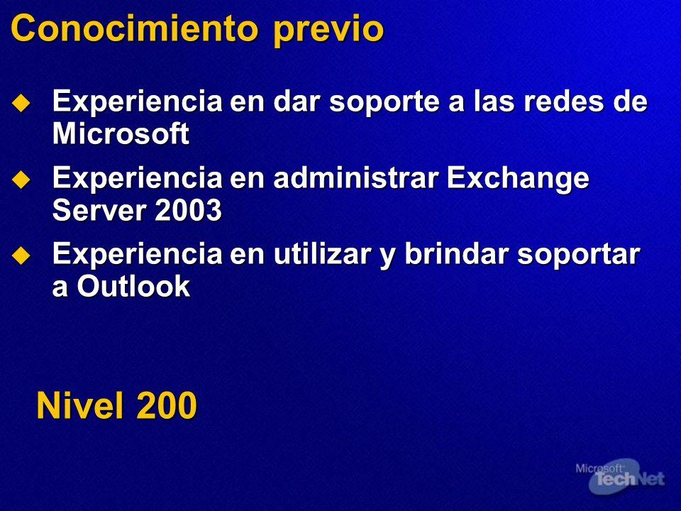 Conocimiento previo Experiencia en dar soporte a las redes de Microsoft Experiencia en dar soporte a las redes de Microsoft Experiencia en administrar Exchange Server 2003 Experiencia en administrar Exchange Server 2003 Experiencia en utilizar y brindar soportar a Outlook Experiencia en utilizar y brindar soportar a Outlook Nivel 200