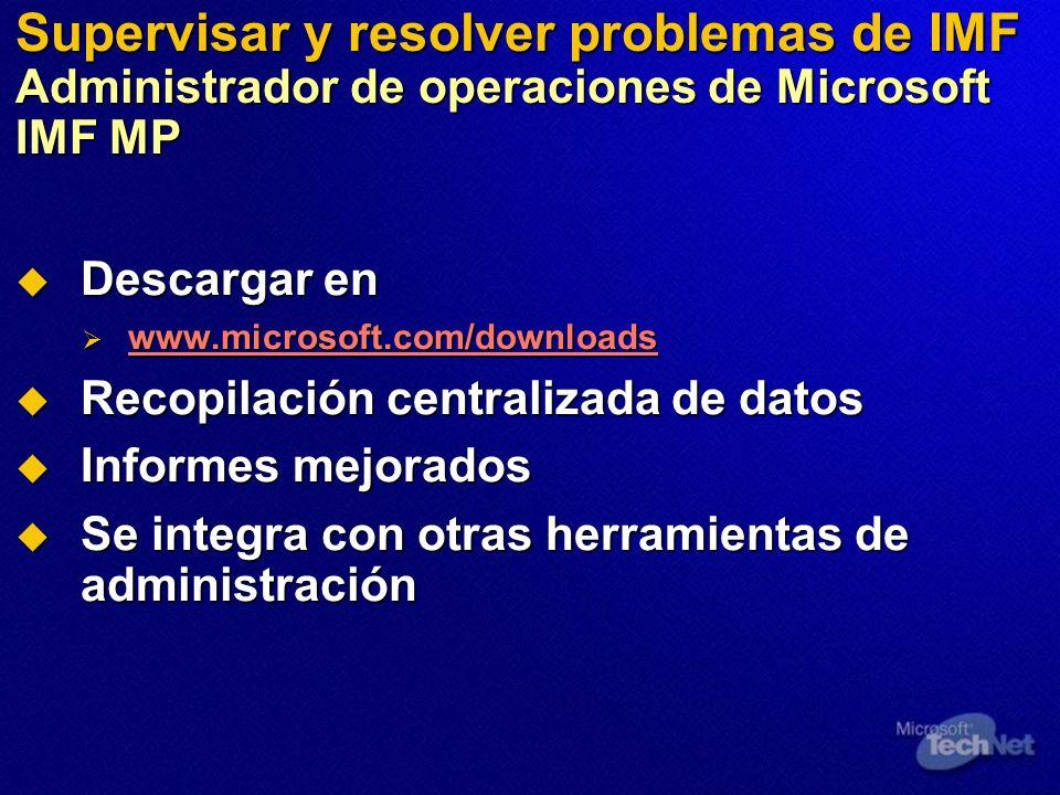 Supervisar y resolver problemas de IMF Administrador de operaciones de Microsoft IMF MP Descargar en Descargar en www.microsoft.com/downloads www.micr