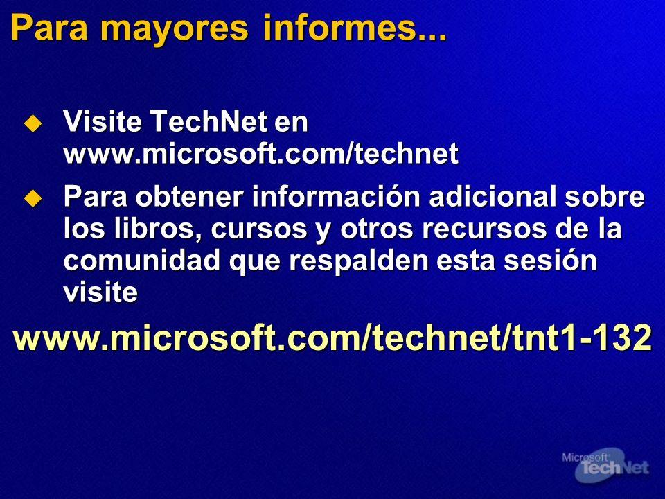 Para mayores informes... Visite TechNet en www.microsoft.com/technet Visite TechNet en www.microsoft.com/technet Para obtener información adicional so