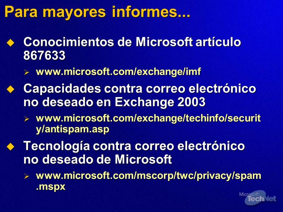 Para mayores informes... Conocimientos de Microsoft artículo 867633 Conocimientos de Microsoft artículo 867633 www.microsoft.com/exchange/imf www.micr