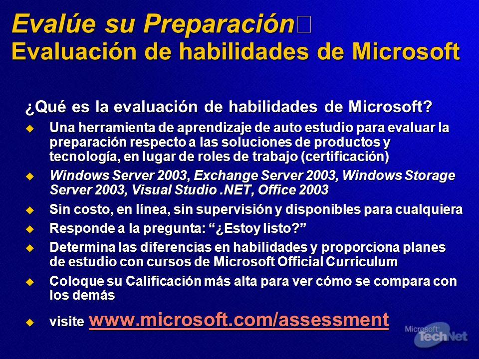 Evalúe su Preparación Evaluación de habilidades de Microsoft ¿Qué es la evaluación de habilidades de Microsoft? Una herramienta de aprendizaje de auto