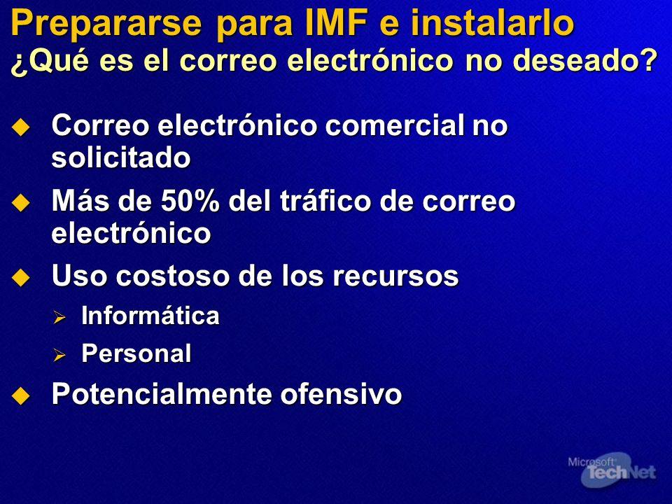 Prepararse para IMF e instalarlo Estrategia Anti-UCE de Microsoft Tecnologías innovadoras Tecnologías innovadoras Auto-regulación y cooperación de la industria Auto-regulación y cooperación de la industria Trabajo con los gobiernos Trabajo con los gobiernos