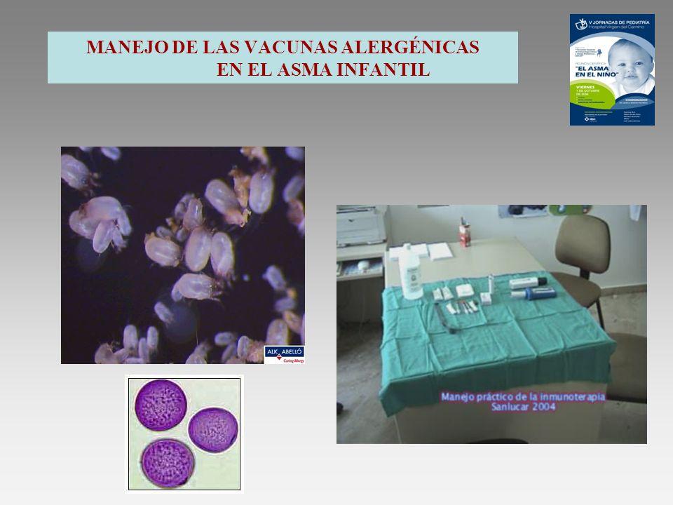 ELECCIÓN DE LA VACUNA Y VIA A UTILIZAR ESTANDARIZACIÓN DE CALIDAD : POTENCIA ALERGÉNICA TOTAL EN UNIDADES BIOLÓGICAS ALERGENOS MAYORITARIOS CUANTIFICADOS EN UNIDADES DE MASA (µg/ml ) TIPOS DE EXTRACTOS : EXTRACTOS ACUOSOS EXTRACTOS DEPOT (Físicos) Hidróxido de aluminio-Liposomas Tirosina-Fosfato cálcico EXTRACTOS modificados químicamente Despigmentados.
