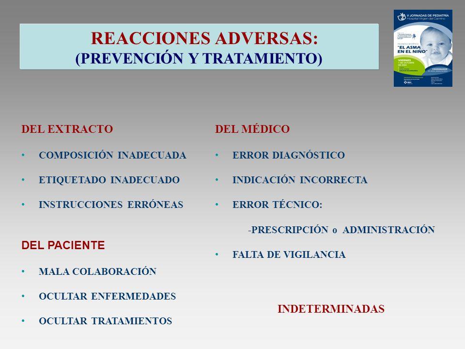 REACCIONES ADVERSAS: (PREVENCIÓN Y TRATAMIENTO) DEL EXTRACTO COMPOSICIÓN INADECUADA ETIQUETADO INADECUADO INSTRUCCIONES ERRÓNEAS DEL MÉDICO ERROR DIAG