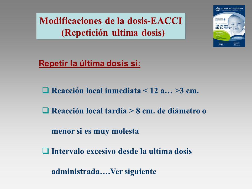 Modificaciones de la dosis-EACCI (Repetición ultima dosis) Repetir la última dosis si: Reacción local inmediata 3 cm. Reacción local tardía > 8 cm. de