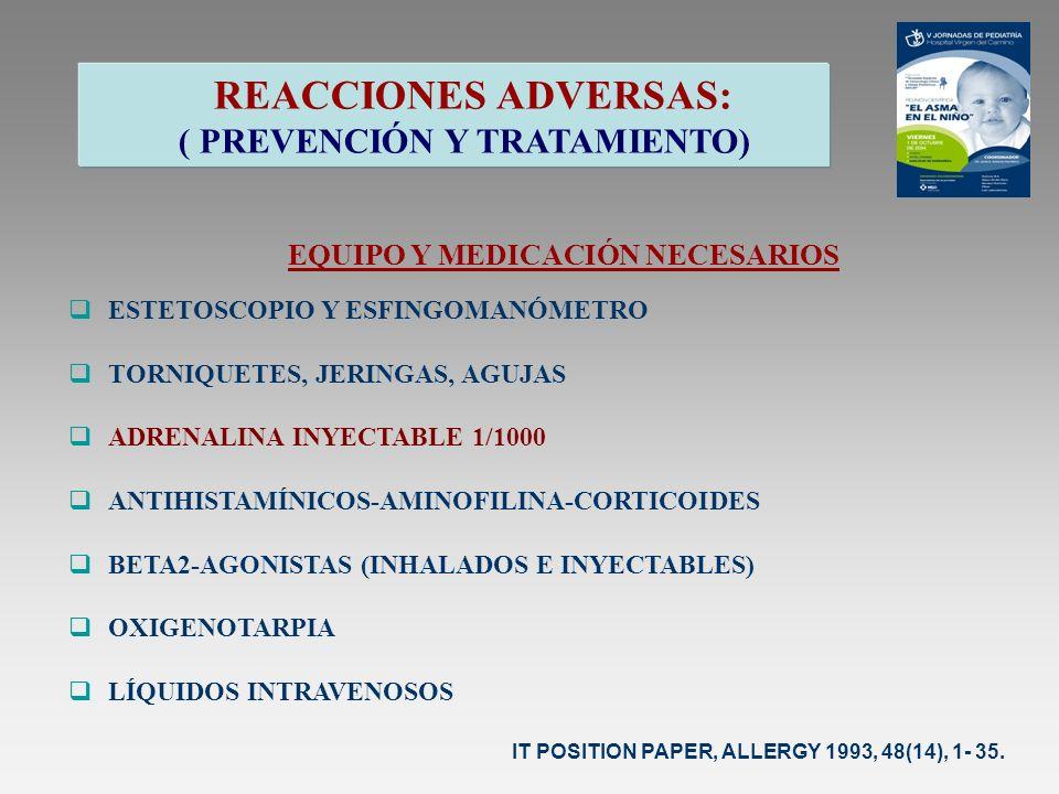 REACCIONES ADVERSAS: ( PREVENCIÓN Y TRATAMIENTO) EQUIPO Y MEDICACIÓN NECESARIOS ESTETOSCOPIO Y ESFINGOMANÓMETRO TORNIQUETES, JERINGAS, AGUJAS ADRENALI