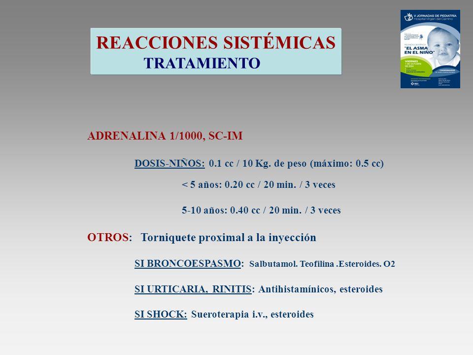 REACCIONES SISTÉMICAS TRATAMIENTO ADRENALINA 1/1000, SC-IM DOSIS-NIÑOS: 0.1 cc / 10 Kg. de peso (máximo: 0.5 cc) < 5 años: 0.20 cc / 20 min. / 3 veces