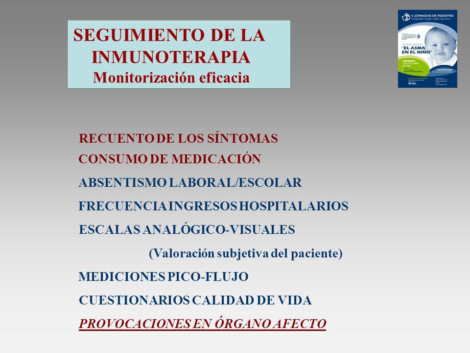 SEGUIMIENTO DE LA INMUNOTERAPIA Monitorización eficacia RECUENTO DE LOS SÍNTOMAS CONSUMO DE MEDICACIÓN ABSENTISMO LABORAL/ESCOLAR FRECUENCIA INGRESOS