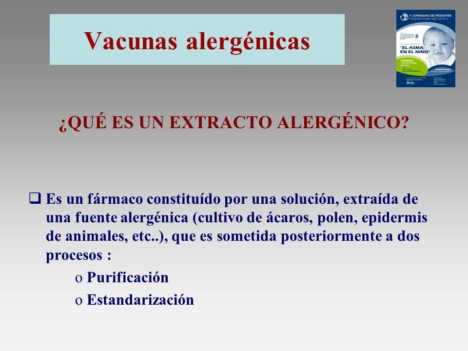 Vacunas alergénicas Purificación de un extracto Su objetivo es eliminar del extracto crudo el material no antigénico potencialmente irritante, y por tanto no relevante para el tratamiento ( sales, compuestos de bajo peso molecular, etc.).