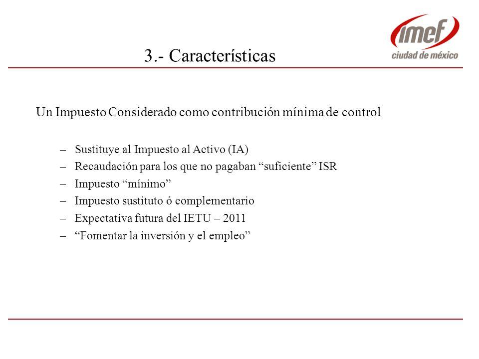 5.- Temas a considerar antes de 2008 (8/8) Estructura de Nómina No deducible Integra para IETU Crédito IETU Sueldo X Prestaciones Sociales X X Fondo de ahorro X X Vales Despensa X X Otras a analizar X .