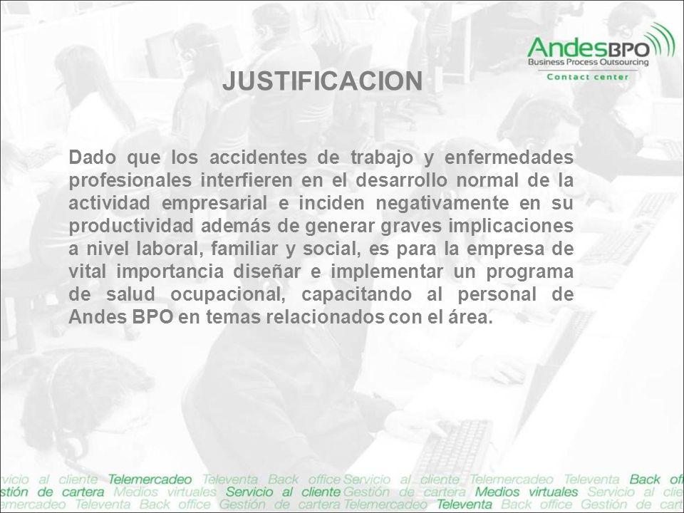 JUSTIFICACION Dado que los accidentes de trabajo y enfermedades profesionales interfieren en el desarrollo normal de la actividad empresarial e incide