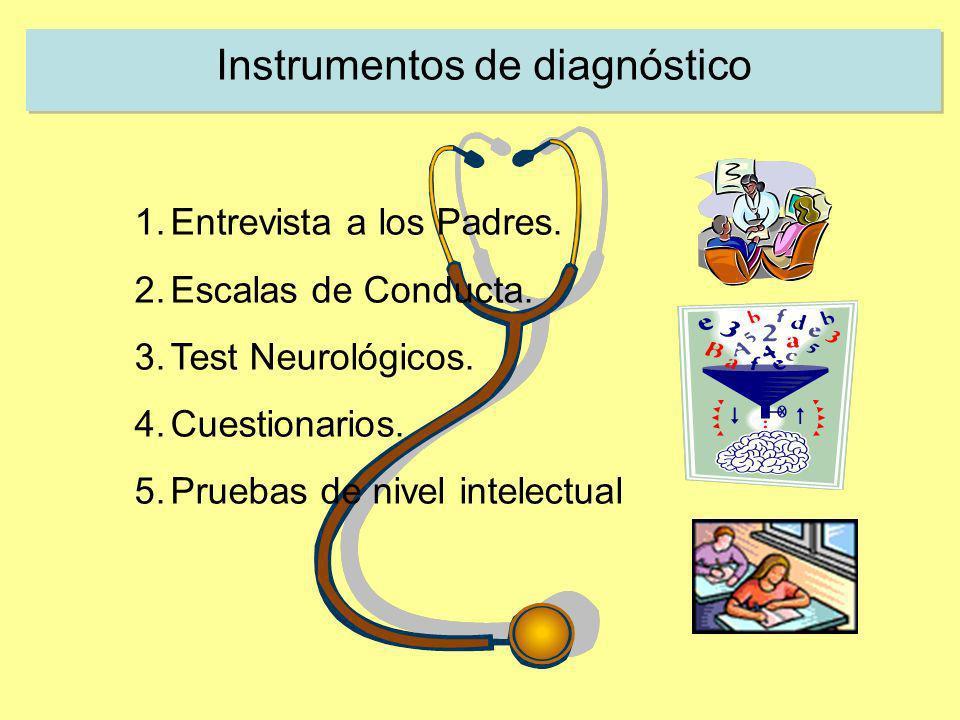 Instrumentos de diagnóstico 1.Entrevista a los Padres. 2.Escalas de Conducta. 3.Test Neurológicos. 4.Cuestionarios. 5.Pruebas de nivel intelectual