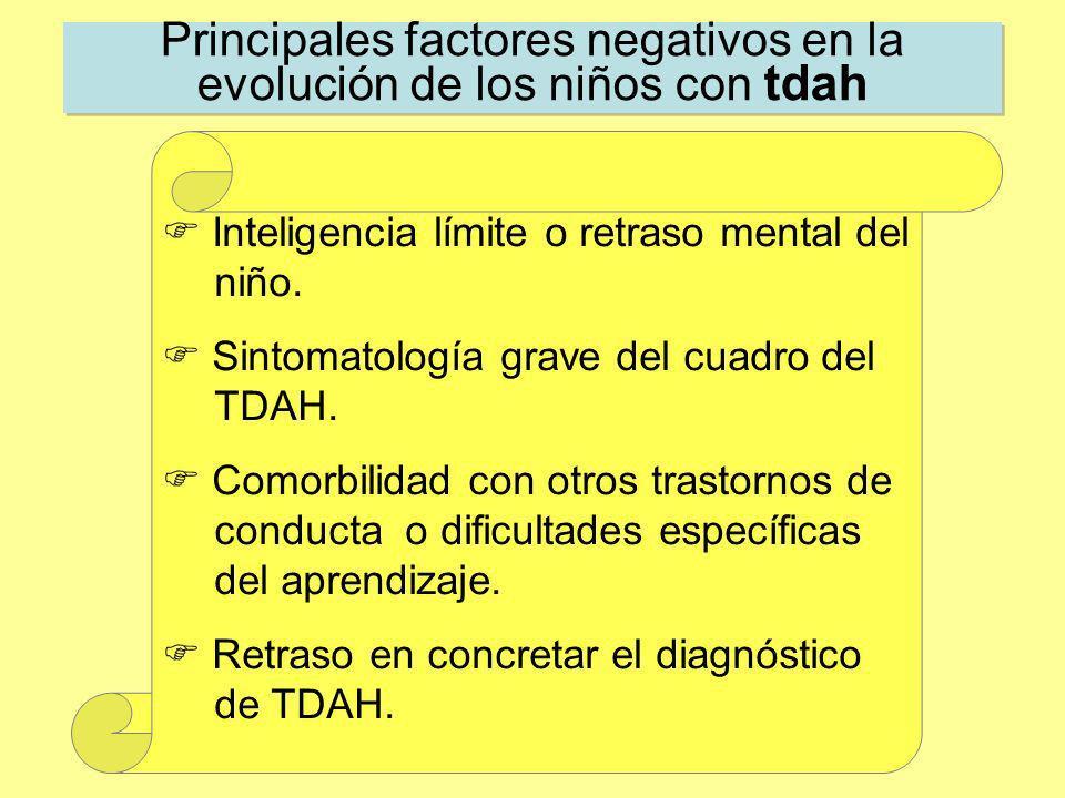 Principales factores negativos en la evolución de los niños con tdah Inteligencia límite o retraso mental del niño. Sintomatología grave del cuadro de