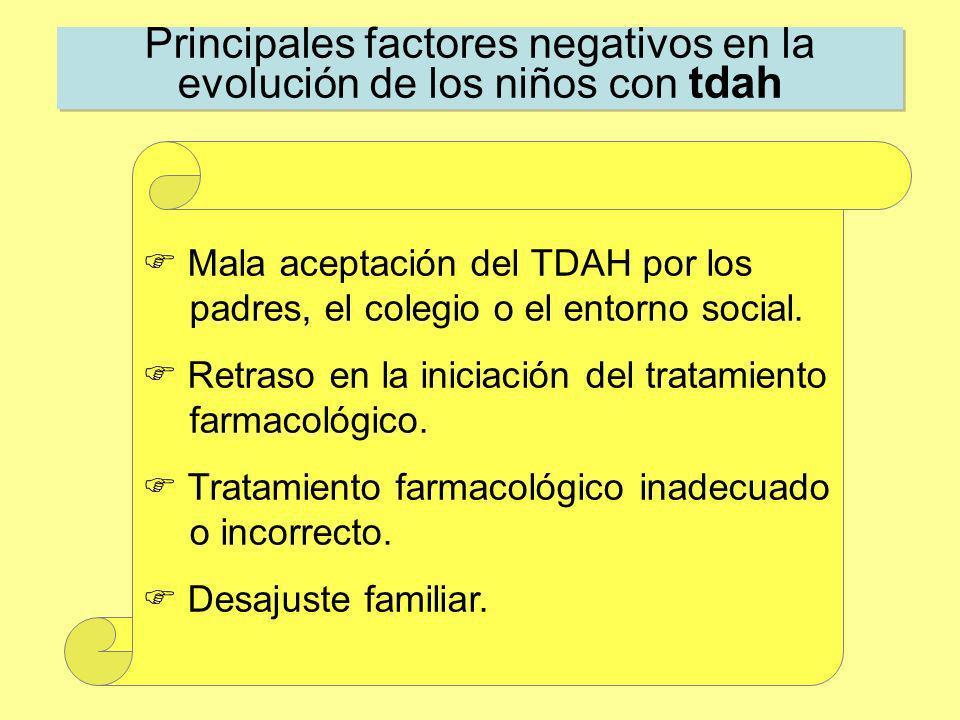 Principales factores negativos en la evolución de los niños con tdah Mala aceptación del TDAH por los padres, el colegio o el entorno social. Retraso