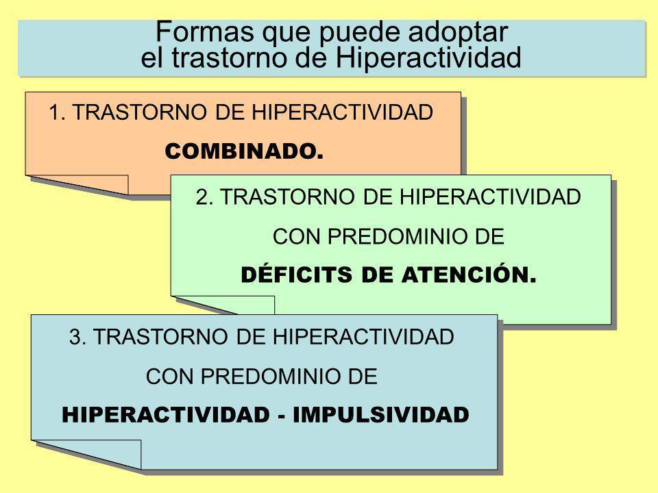 Formas que puede adoptar el trastorno de Hiperactividad 1. TRASTORNO DE HIPERACTIVIDAD COMBINADO. 1. TRASTORNO DE HIPERACTIVIDAD COMBINADO. 2. TRASTOR