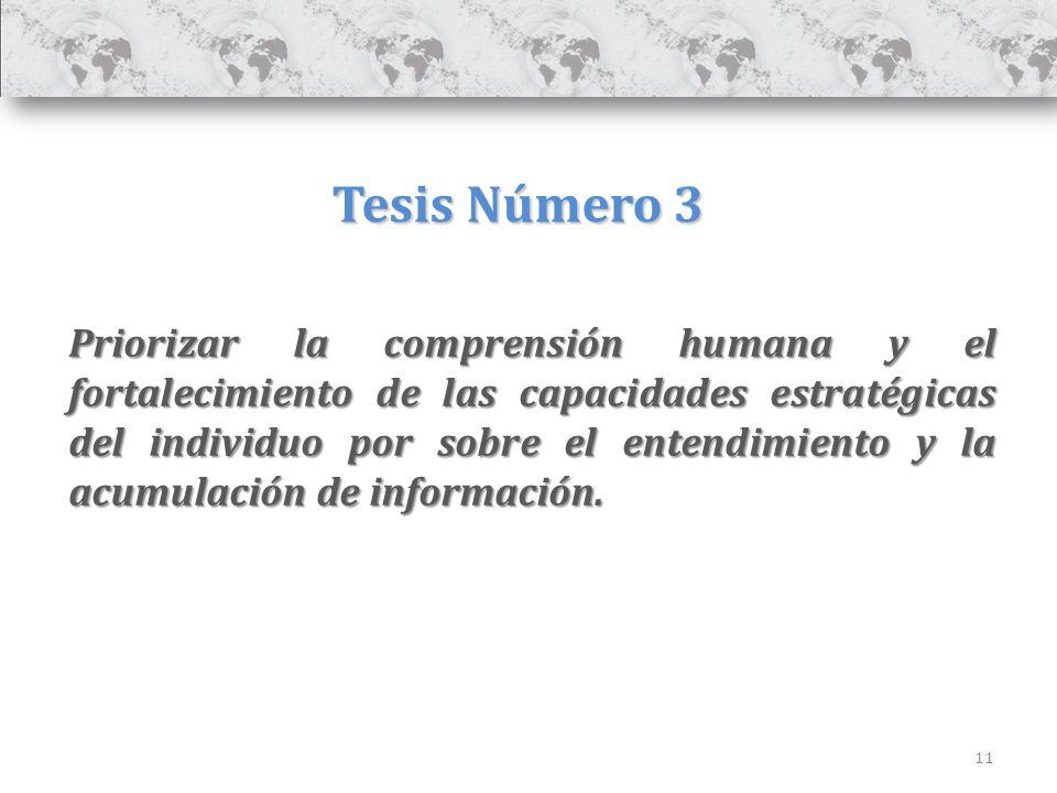 11 Tesis Número 3 Priorizar la comprensión humana y el fortalecimiento de las capacidades estratégicas del individuo por sobre el entendimiento y la acumulación de información.