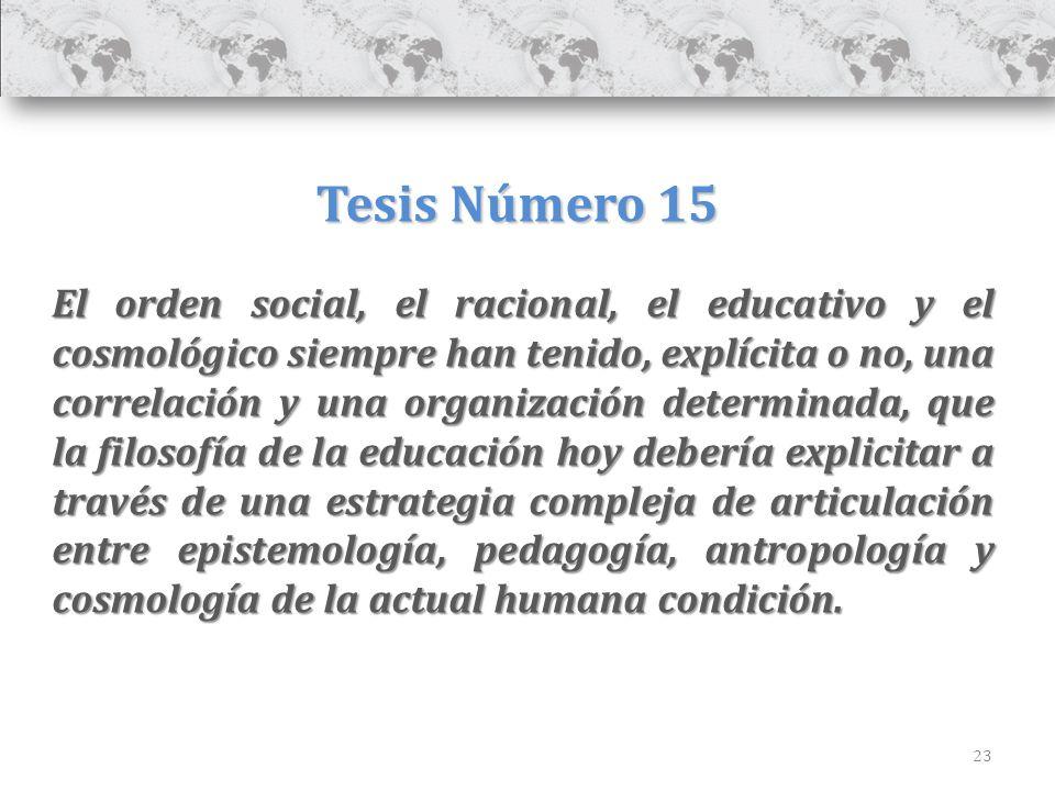 23 Tesis Número 15 El orden social, el racional, el educativo y el cosmológico siempre han tenido, explícita o no, una correlación y una organización