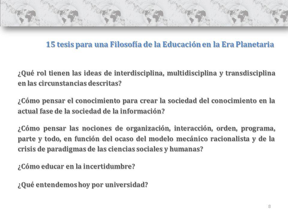 8 15 tesis para una Filosofía de la Educación en la Era Planetaria ¿Qué rol tienen las ideas de interdisciplina, multidisciplina y transdisciplina en las circunstancias descritas.