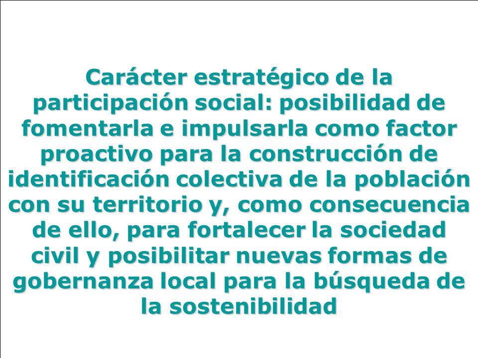 Carácter estratégico de la participación social: posibilidad de fomentarla e impulsarla como factor proactivo para la construcción de identificación c