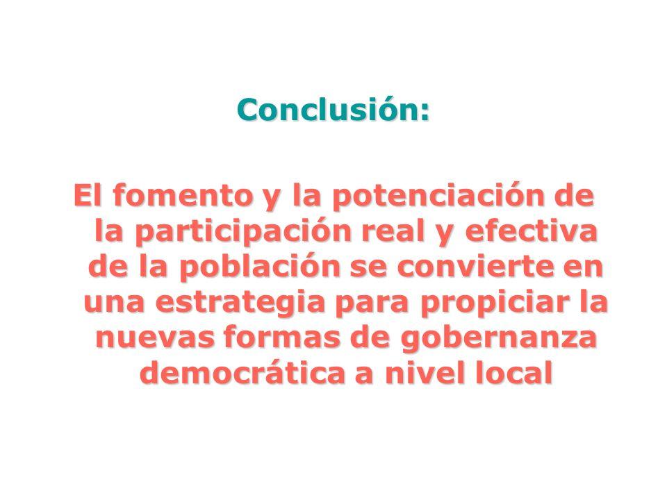 Conclusión: El fomento y la potenciación de la participación real y efectiva de la población se convierte en una estrategia para propiciar la nuevas f