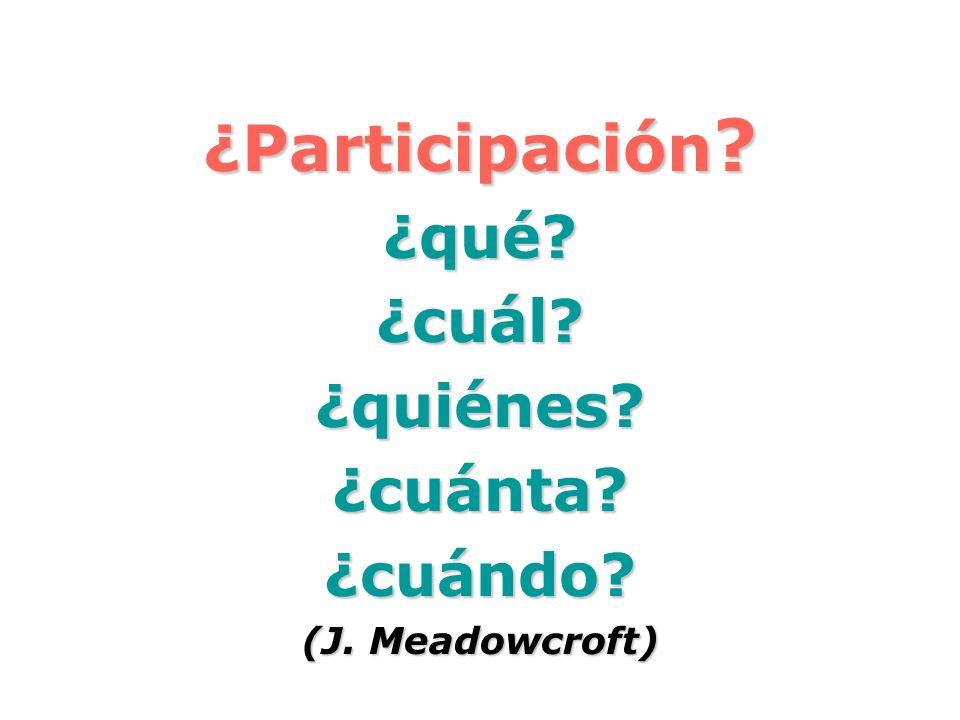 ¿Participación ? ¿qué?¿cuál?¿quiénes?¿cuánta?¿cuándo? (J. Meadowcroft)