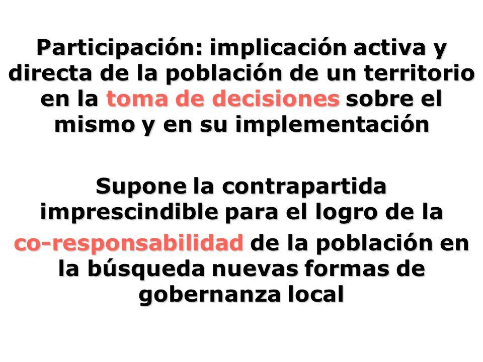Participación: implicación activa y directa de la población de un territorio en la toma de decisiones sobre el mismo y en su implementación Supone la