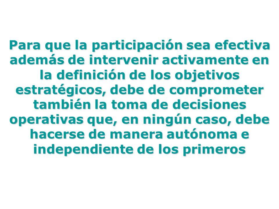 Para que la participación sea efectiva además de intervenir activamente en la definición de los objetivos estratégicos, debe de comprometer también la
