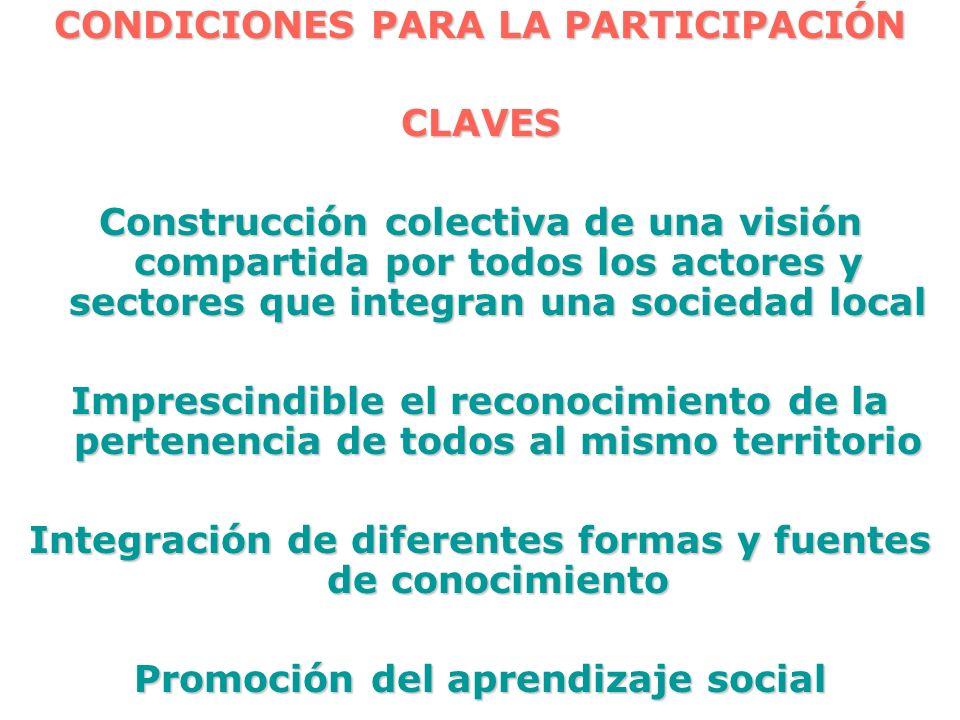 CONDICIONES PARA LA PARTICIPACIÓN CLAVES Construcción colectiva de una visión compartida por todos los actores y sectores que integran una sociedad lo