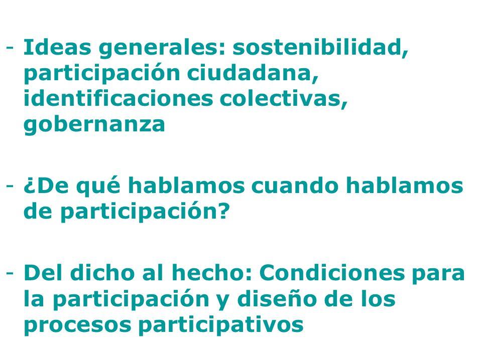 -Ideas generales: sostenibilidad, participación ciudadana, identificaciones colectivas, gobernanza -¿De qué hablamos cuando hablamos de participación?