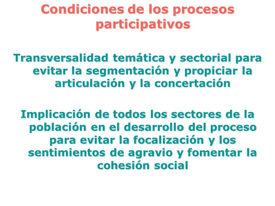 Condiciones de los procesos participativos Transversalidad temática y sectorial para evitar la segmentación y propiciar la articulación y la concertac