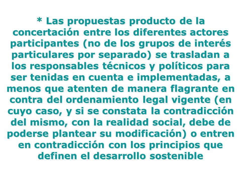 * Las propuestas producto de la concertación entre los diferentes actores participantes (no de los grupos de interés particulares por separado) se tra