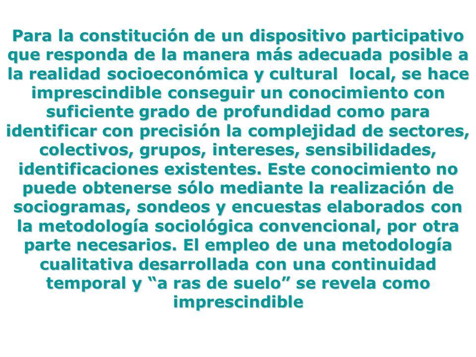 Para la constitución de un dispositivo participativo que responda de la manera más adecuada posible a la realidad socioeconómica y cultural local, se