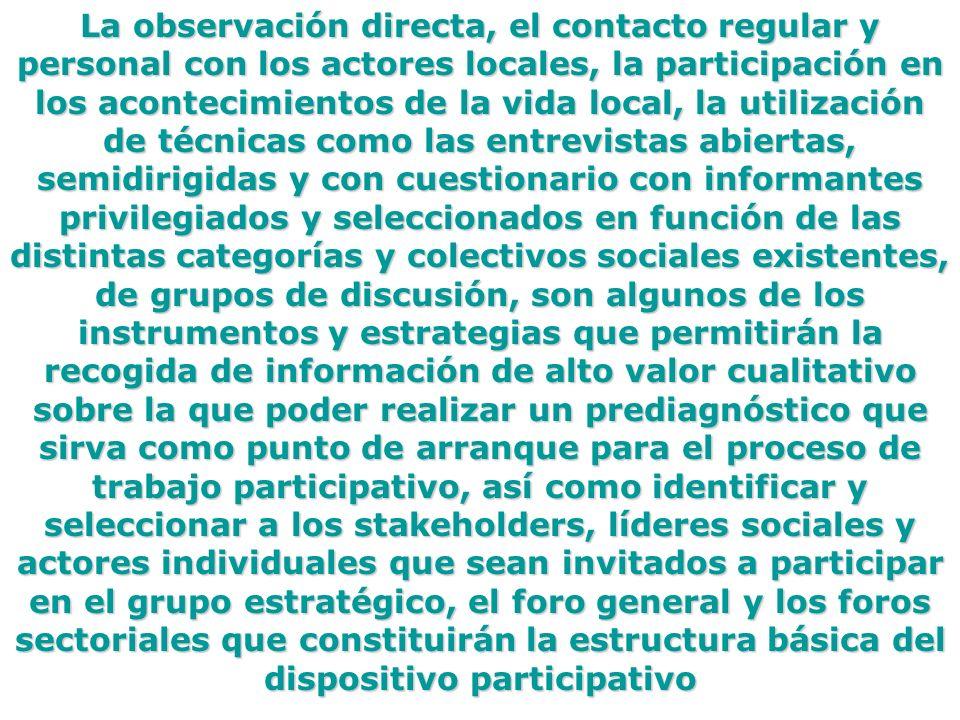 La observación directa, el contacto regular y personal con los actores locales, la participación en los acontecimientos de la vida local, la utilizaci