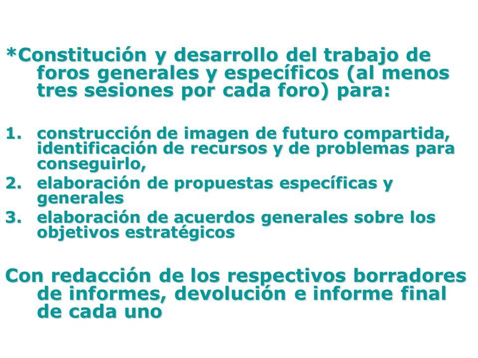 *Constitución y desarrollo del trabajo de foros generales y específicos (al menos tres sesiones por cada foro) para: 1.construcción de imagen de futur