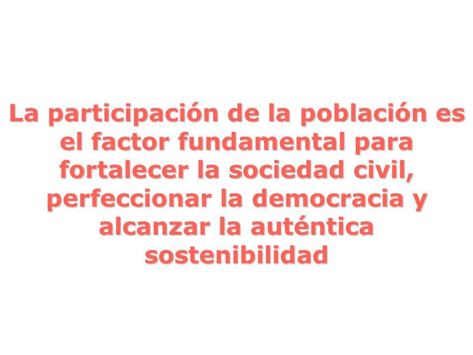 La participación de la población es el factor fundamental para fortalecer la sociedad civil, perfeccionar la democracia y alcanzar la auténtica sosten