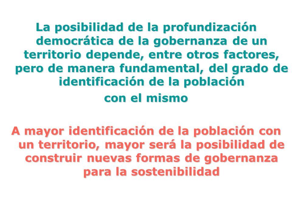 La posibilidad de la profundización democrática de la gobernanza de un territorio depende, entre otros factores, pero de manera fundamental, del grado