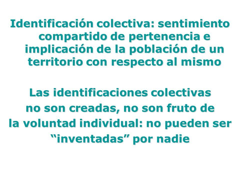 Identificación colectiva: sentimiento compartido de pertenencia e implicación de la población de un territorio con respecto al mismo Las identificacio