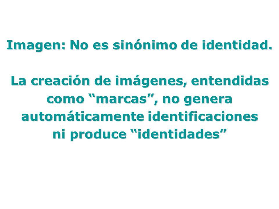 Imagen: No es sinónimo de identidad. La creación de imágenes, entendidas como marcas, no genera automáticamente identificaciones ni produce identidade