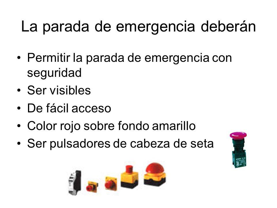La parada de emergencia deberán Permitir la parada de emergencia con seguridad Ser visibles De fácil acceso Color rojo sobre fondo amarillo Ser pulsad