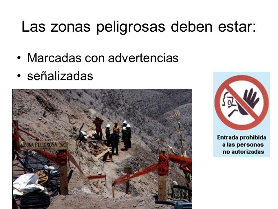 Las zonas peligrosas deben estar: Marcadas con advertencias señalizadas