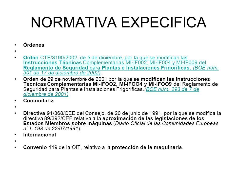 NORMATIVA EXPECIFICA Órdenes Orden CTE/3190/2002, de 5 de diciembre, por la que se modifican las Instrucciones Técnicas Complementarias MI-IF002, MI-I