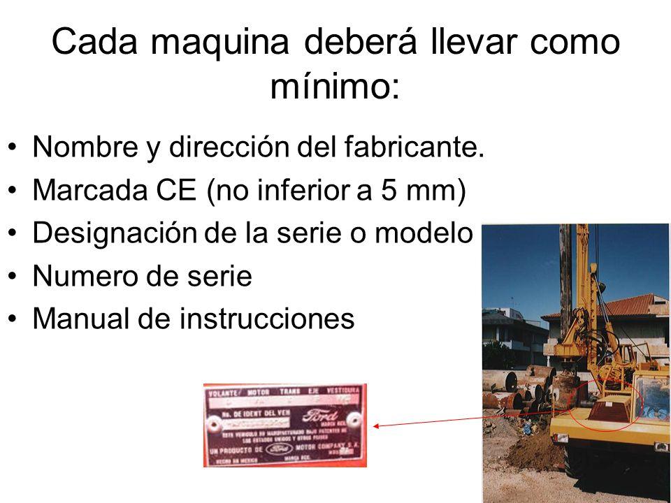 Cada maquina deberá llevar como mínimo: Nombre y dirección del fabricante. Marcada CE (no inferior a 5 mm) Designación de la serie o modelo Numero de