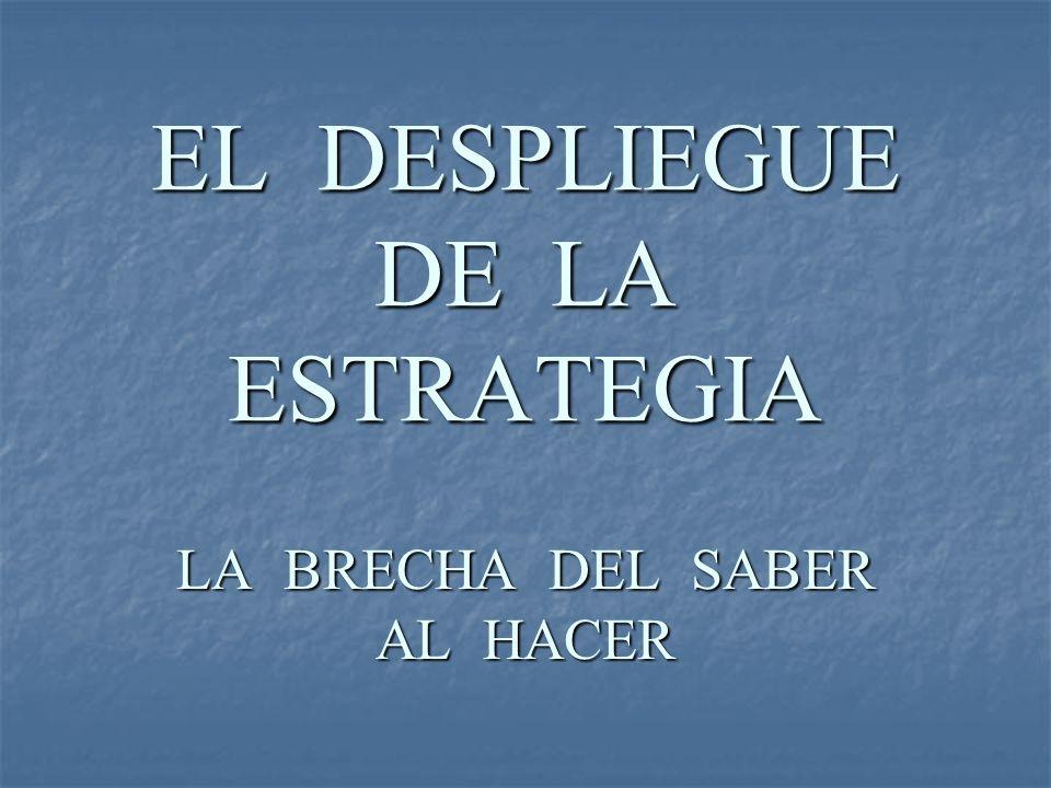 EL DESPLIEGUE DE LA ESTRATEGIA LA BRECHA DEL SABER AL HACER